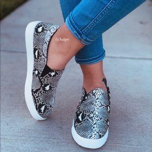 Snake print slip on sneaker